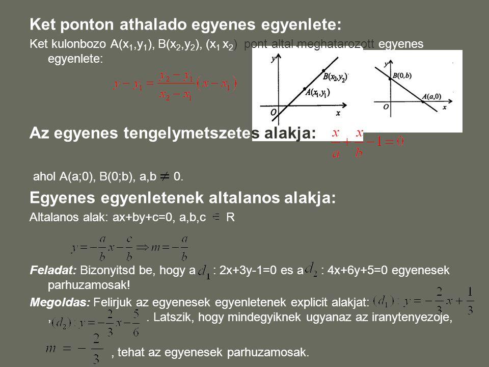 Ket ponton athalado egyenes egyenlete: Ket kulonbozo A(x 1,y 1 ), B(x 2,y 2 ), (x 1 x 2 ) pont altal meghatarozott egyenes egyenlete: Az egyenes tenge