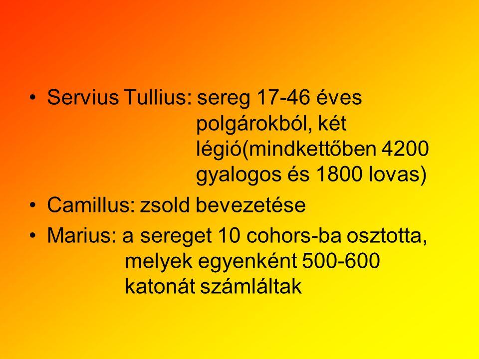 Servius Tullius: sereg 17-46 éves polgárokból, két légió(mindkettőben 4200 gyalogos és 1800 lovas) Camillus: zsold bevezetése Marius: a sereget 10 coh