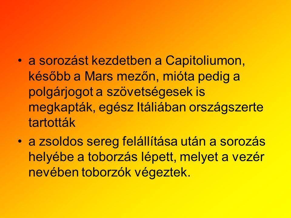 a sorozást kezdetben a Capitoliumon, később a Mars mezőn, mióta pedig a polgárjogot a szövetségesek is megkapták, egész Itáliában országszerte tartott