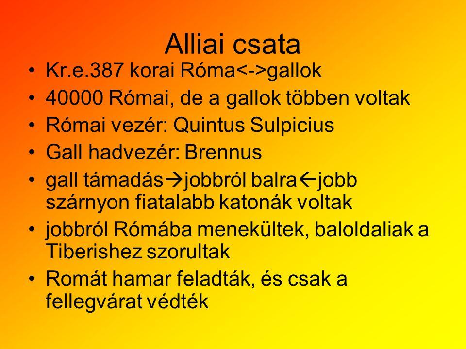 Alliai csata Kr.e.387 korai Róma gallok 40000 Római, de a gallok többen voltak Római vezér: Quintus Sulpicius Gall hadvezér: Brennus gall támadás  jo