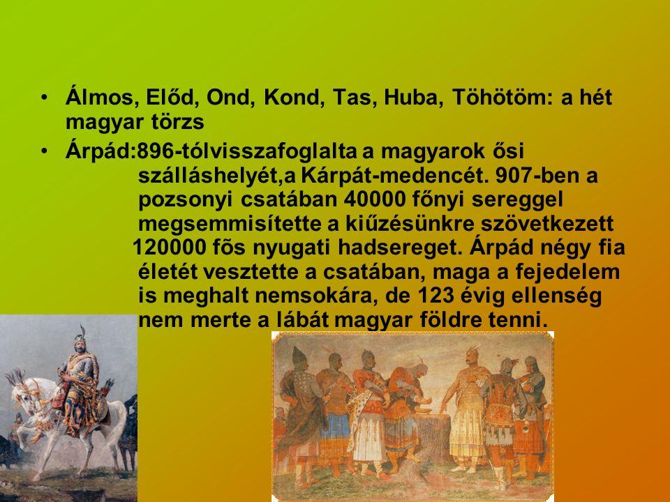 Álmos, Előd, Ond, Kond, Tas, Huba, Töhötöm: a hét magyar törzs Árpád:896-tólvisszafoglalta a magyarok ősi szálláshelyét,a Kárpát-medencét.
