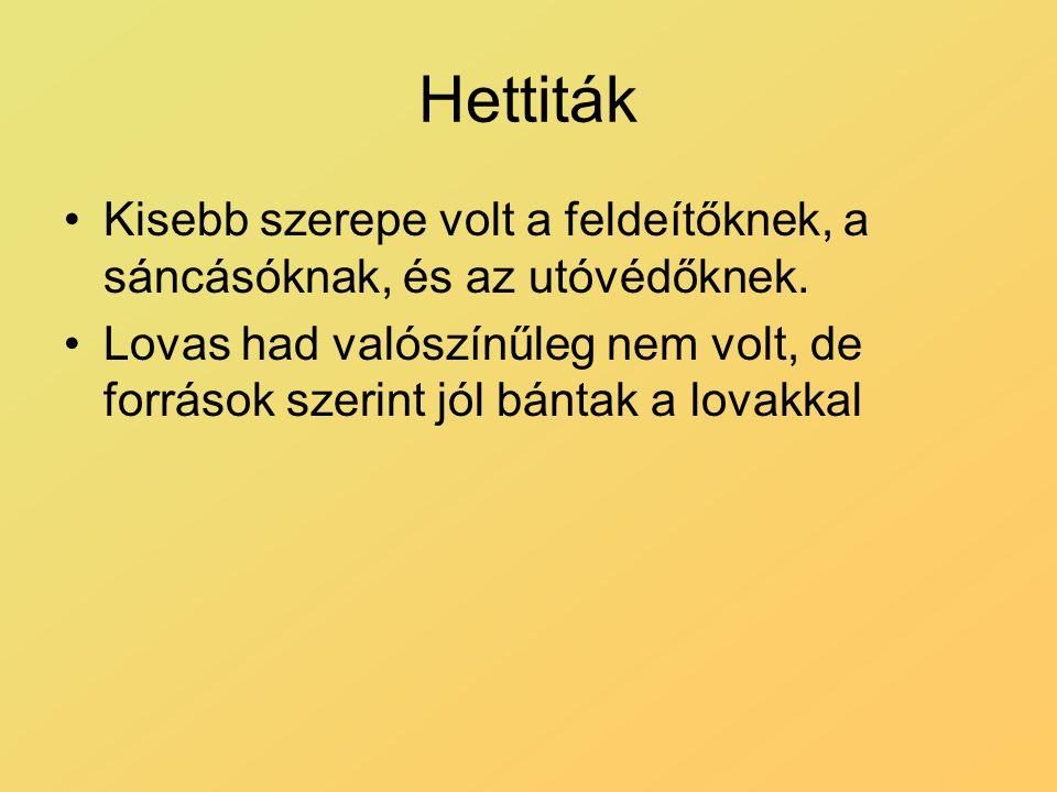 Hettiták Kisebb szerepe volt a feldeítőknek, a sáncásóknak, és az utóvédőknek. Lovas had valószínűleg nem volt, de források szerint jól bántak a lovak