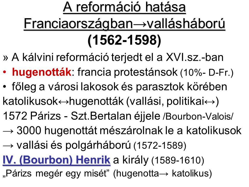A reformáció hatása Franciaországban→vallásháború ( A reformáció hatása Franciaországban→vallásháború (1562-1598) » A kálvini reformáció terjedt el a XVI.sz.-ban hugenották: francia protestánsok (10%- D-Fr.) főleg a városi lakosok és parasztok körében katolikusok↔hugenották (vallási, politikai↔) 1572 Párizs - Szt.Bertalan éjjele /Bourbon-Valois/ → 3000 hugenottát mészárolnak le a katolikusok → vallási és polgárháború (1572-1589) IV.