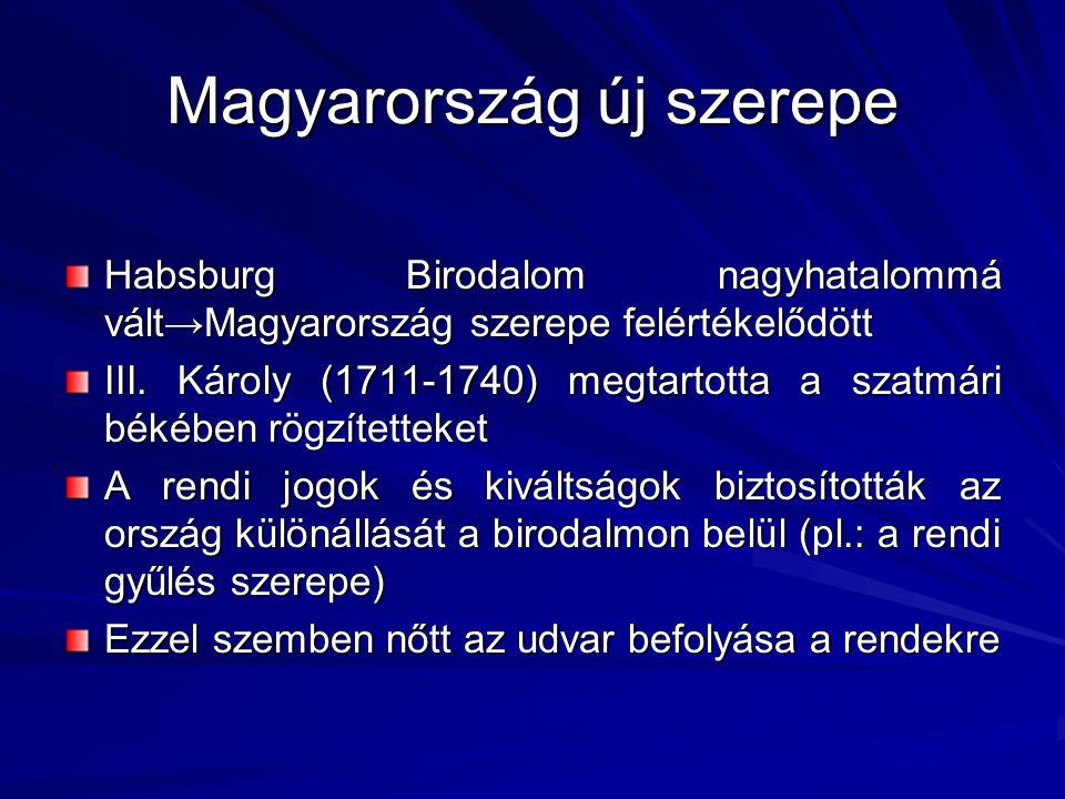 Magyarország új szerepe Habsburg Birodalom nagyhatalommá vált→Magyarország szerepe felértékelődött III. Károly (1711-1740) megtartotta a szatmári béké