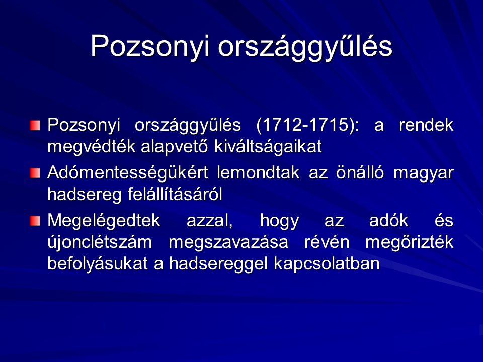 Pozsonyi országgyűlés Pozsonyi országgyűlés (1712-1715): a rendek megvédték alapvető kiváltságaikat Adómentességükért lemondtak az önálló magyar hadse