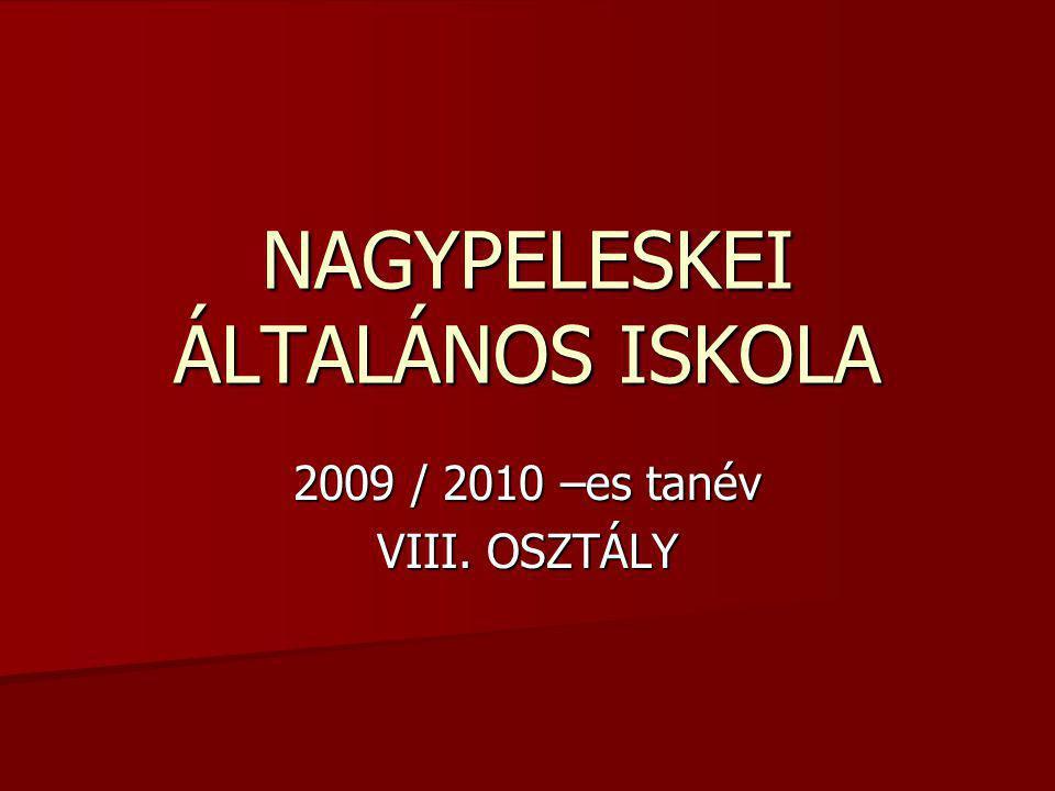 NAGYPELESKEI ÁLTALÁNOS ISKOLA 2009 / 2010 –es tanév VIII. OSZTÁLY