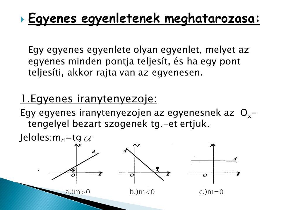  Egyenes egyenletenek meghatarozasa: Egy egyenes egyenlete olyan egyenlet, melyet az egyenes minden pontja teljesít, és ha egy pont teljesíti, akkor