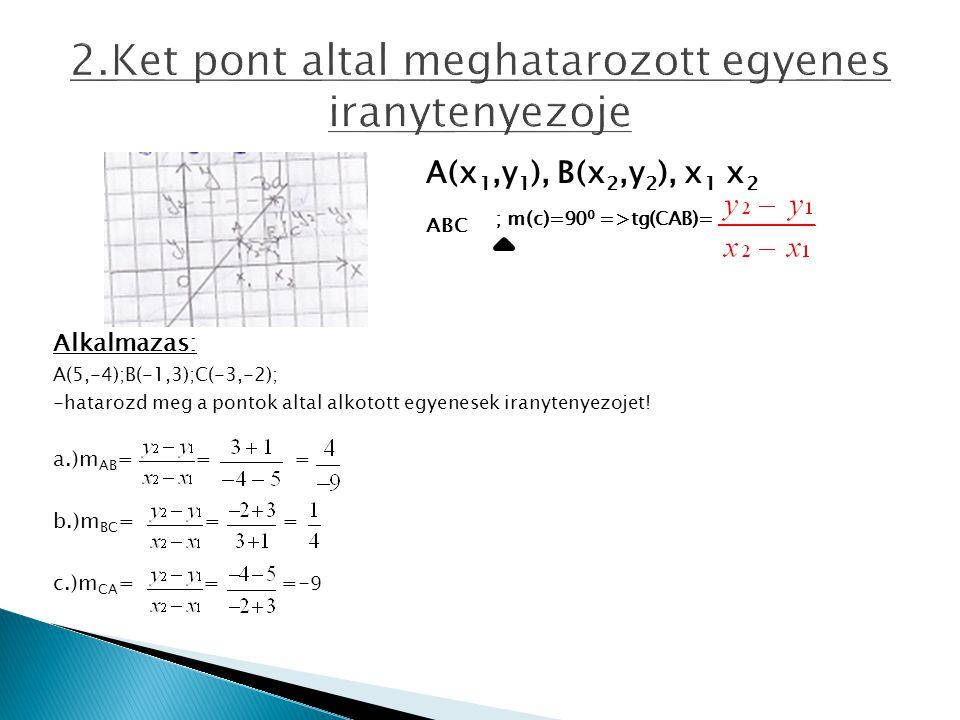 2.Ket pont altal meghatarozott egyenes iranytenyezoje A(x 1,y 1 ), B(x 2,y 2 ), x 1 x 2 ABC ; m(c)=90 0 =>tg(CAB)= Alkalmazas: A(5,-4);B(-1,3);C(-3,-2