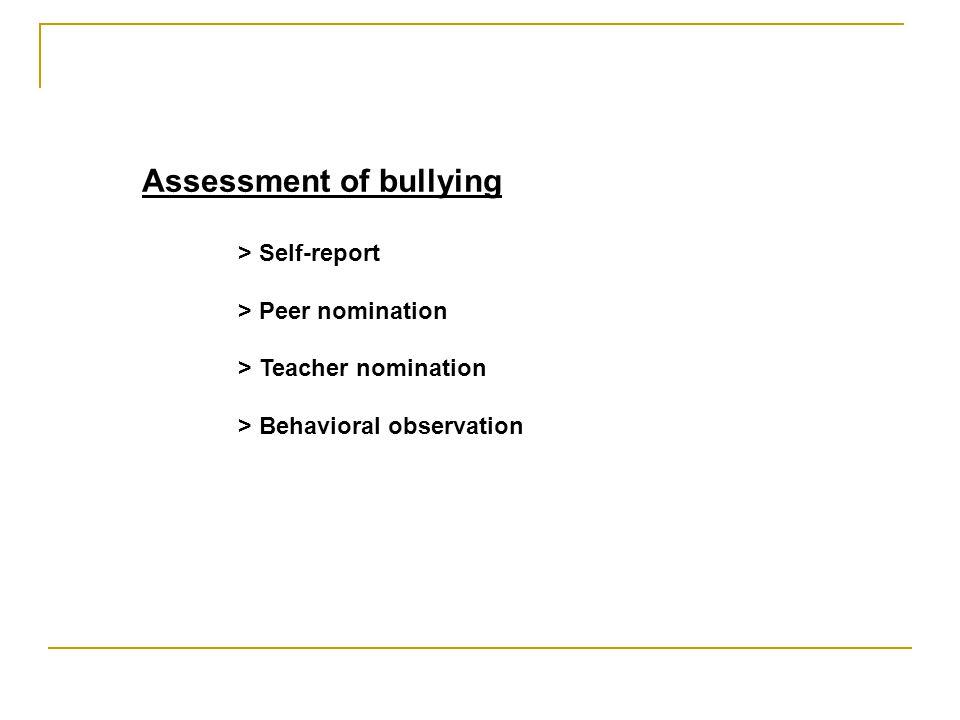 Assessment of bullying > Self-report > Peer nomination > Teacher nomination > Behavioral observation