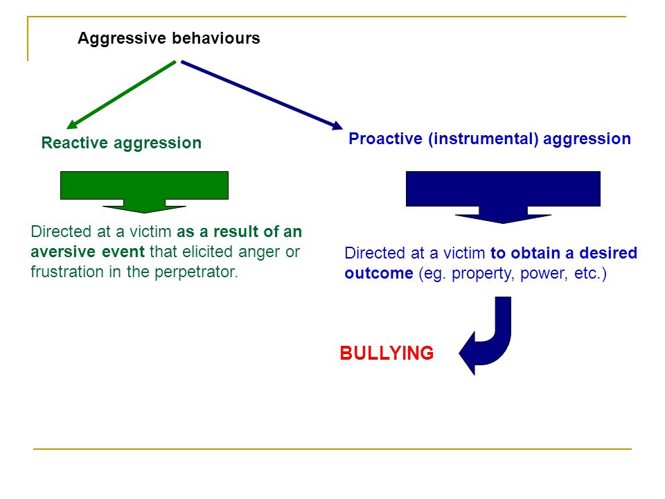 Aggressive behaviours Proactive (instrumental) aggression Reactive aggression Directed at a victim to obtain a desired outcome (eg. property, power, e