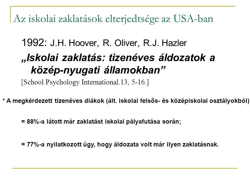 """Az iskolai zaklatások elterjedtsége az USA-ban 1992: J.H. Hoover, R. Oliver, R.J. Hazler """"Iskolai zaklatás: tizenéves áldozatok a közép-nyugati államo"""