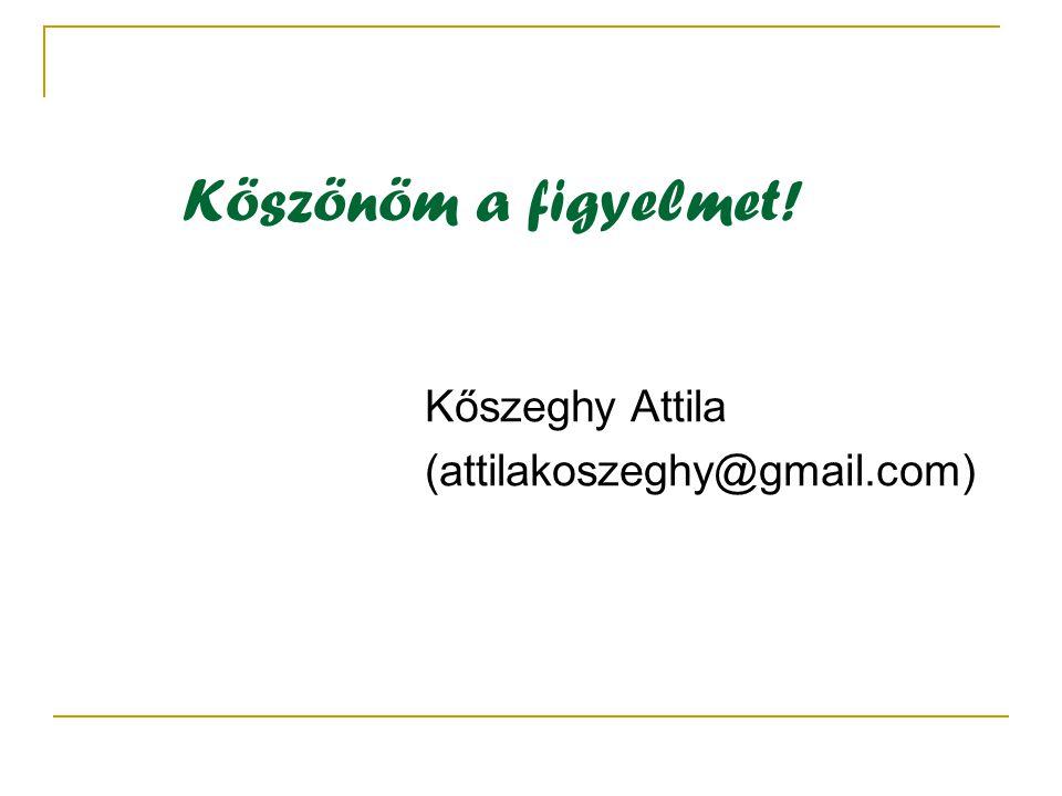 Köszönöm a figyelmet! Kőszeghy Attila (attilakoszeghy@gmail.com)