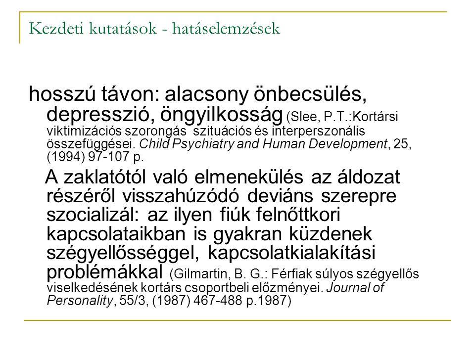 Kezdeti kutatások - hatáselemzések hosszú távon: alacsony önbecsülés, depresszió, öngyilkosság (Slee, P.T.:Kortársi viktimizációs szorongás szituációs