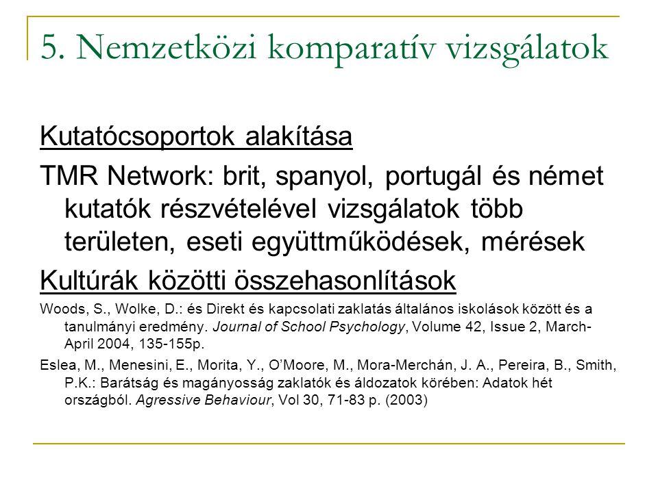 5. Nemzetközi komparatív vizsgálatok Kutatócsoportok alakítása TMR Network: brit, spanyol, portugál és német kutatók részvételével vizsgálatok több te