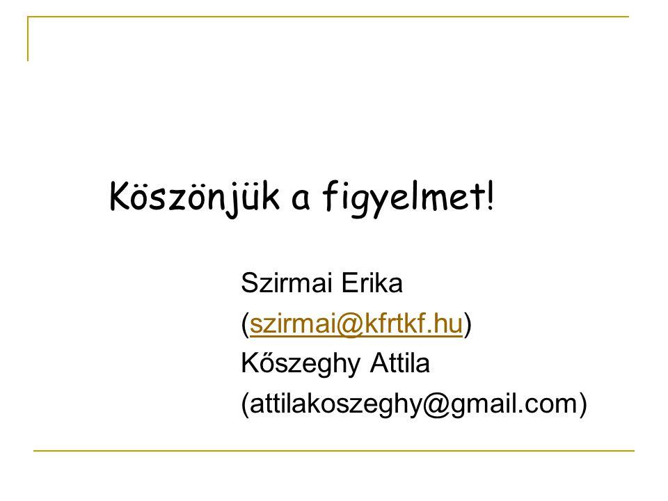 Köszönjük a figyelmet! Szirmai Erika (szirmai@kfrtkf.hu)szirmai@kfrtkf.hu Kőszeghy Attila (attilakoszeghy@gmail.com)