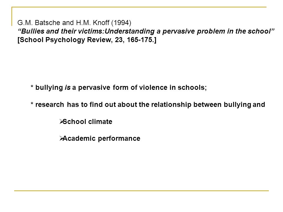 "G.M. Batsche and H.M. Knoff (1994) ""Bullies and their victims:Understanding a pervasive problem in the school"" [School Psychology Review, 23, 165-175."