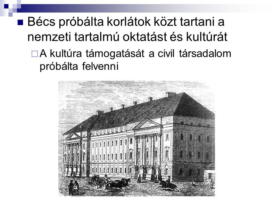 Bécs próbálta korlátok közt tartani a nemzeti tartalmú oktatást és kultúrát  A kultúra támogatását a civil társadalom próbálta felvenni
