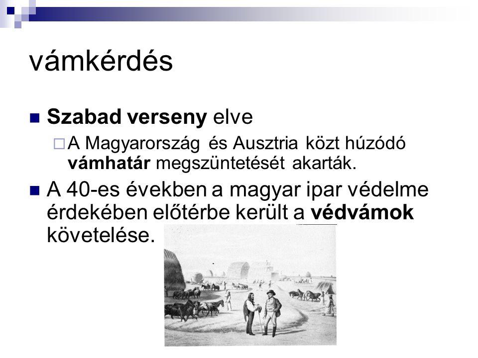 vámkérdés Szabad verseny elve  A Magyarország és Ausztria közt húzódó vámhatár megszüntetését akarták. A 40-es években a magyar ipar védelme érdekébe
