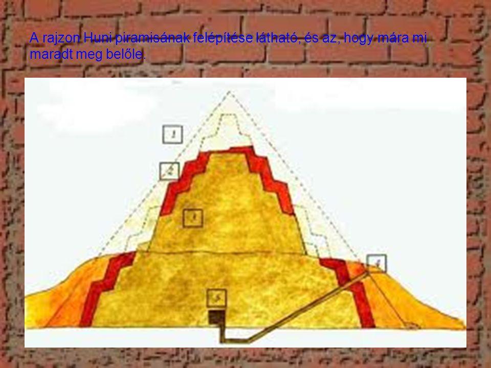 A rajzon Huni piramisának felépítése látható, és az, hogy mára mi maradt meg belőle.