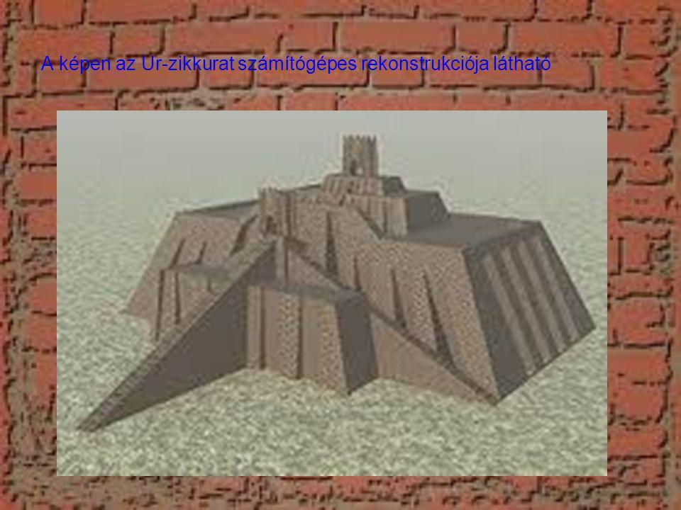 A képen az Ur-zikkurat számítógépes rekonstrukciója látható