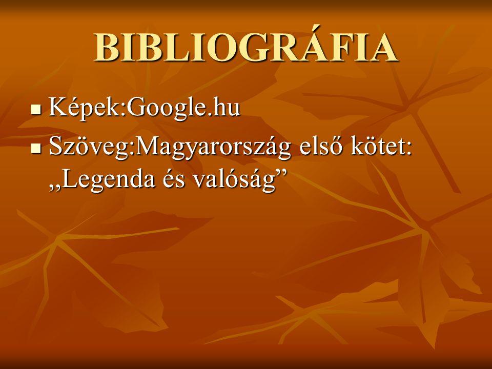 """BIBLIOGRÁFIA Képek:Google.hu Képek:Google.hu Szöveg:Magyarország első kötet:,,Legenda és valóság"""" Szöveg:Magyarország első kötet:,,Legenda és valóság"""""""