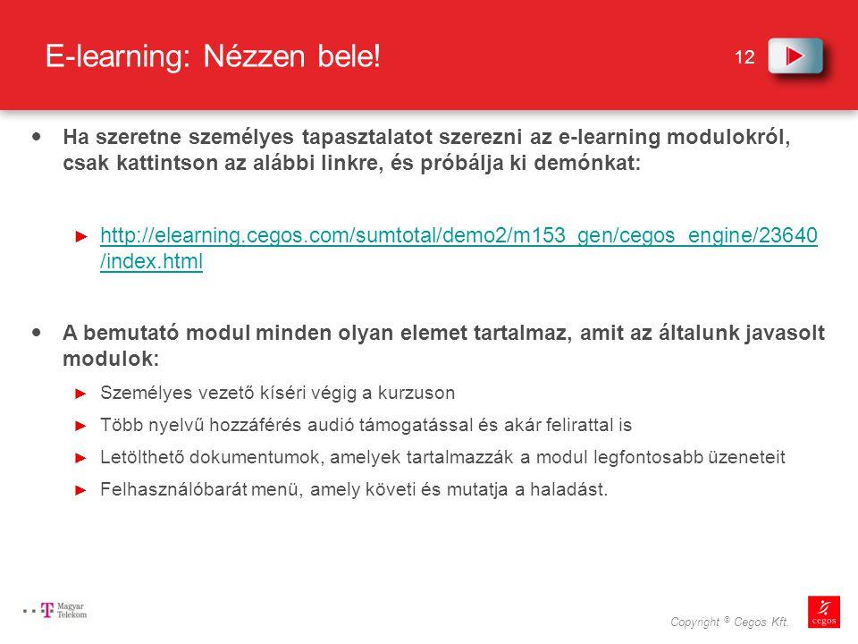 12 Copyright © Cegos Kft.E-learning: Nézzen bele.