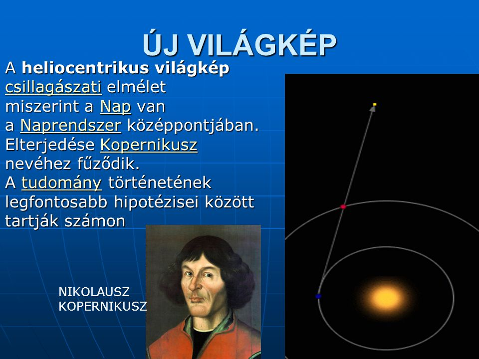 ÚJ VILÁGKÉP A heliocentrikus világkép A heliocentrikus világkép csillagászaticsillagászati elmélet csillagászati miszerint a Nap van Nap a Naprendszer