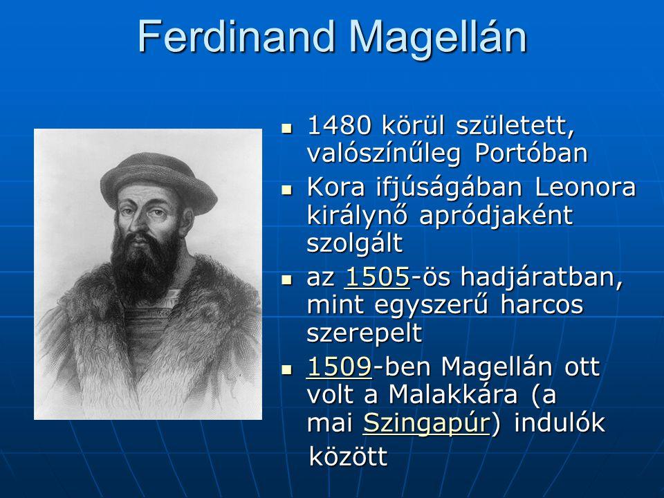 Ferdinand Magellán 1480 körül született, valószínűleg Portóban 1480 körül született, valószínűleg Portóban Kora ifjúságában Leonora királynő apródjaké