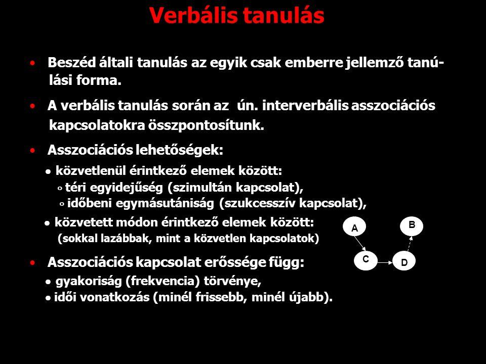 Verbális tanulás Beszéd általi tanulás az egyik csak emberre jellemző tanú- lási forma. A verbális tanulás során az ún. interverbális asszociációs kap