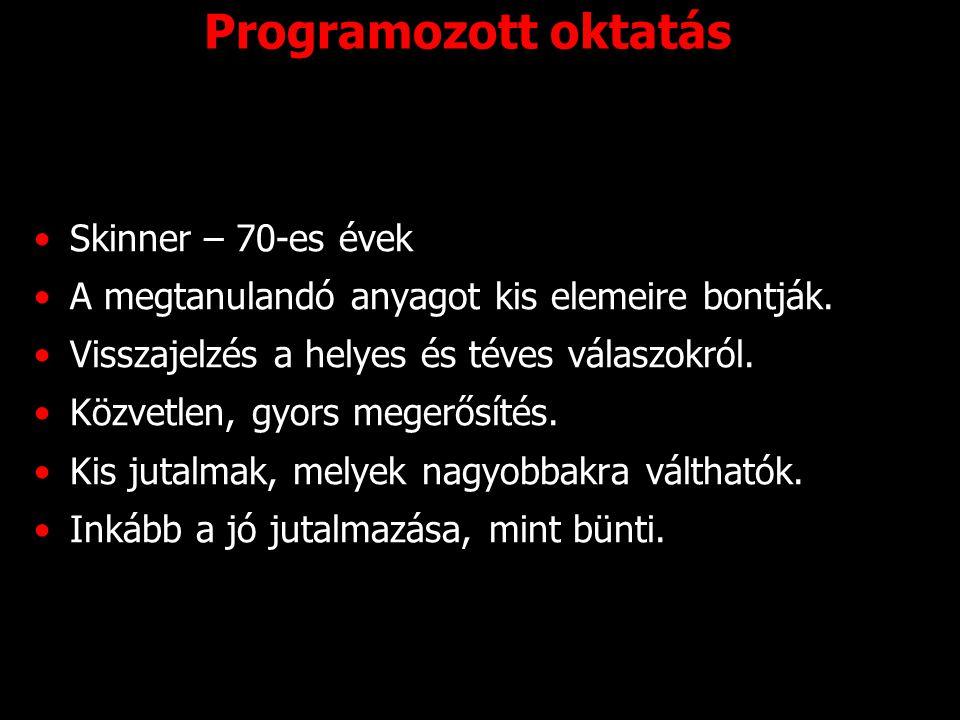 Programozott oktatás Skinner – 70-es évek A megtanulandó anyagot kis elemeire bontják. Visszajelzés a helyes és téves válaszokról. Közvetlen, gyors me