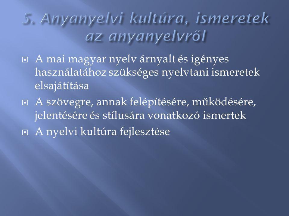  A mai magyar nyelv árnyalt és igényes használatához szükséges nyelvtani ismeretek elsajátítása  A szövegre, annak felépítésére, működésére, jelentésére és stílusára vonatkozó ismertek  A nyelvi kultúra fejlesztése