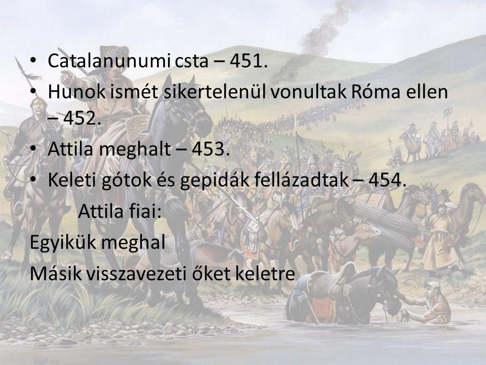 Catalanunumi csta – 451. Hunok ismét sikertelenül vonultak Róma ellen – 452. Attila meghalt – 453. Keleti gótok és gepidák fellázadtak – 454. Attila f