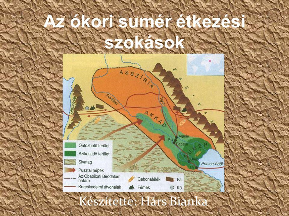 Az ókori sumér étkezési szokások Készítette: Hárs Bianka