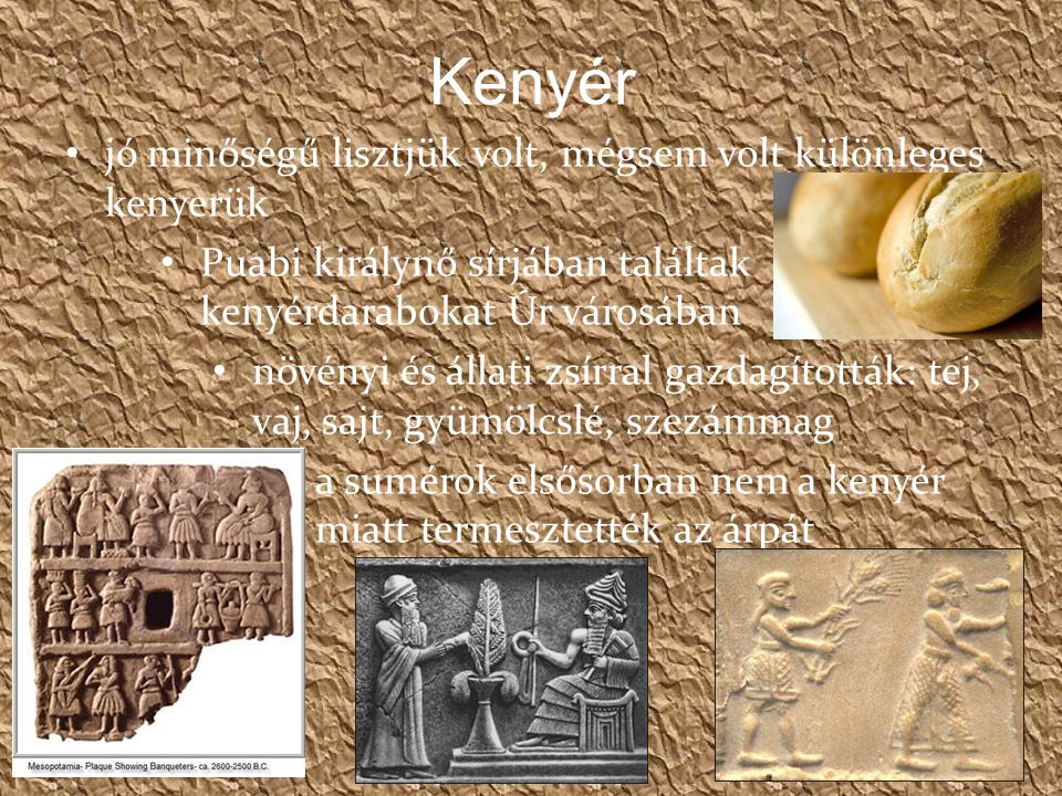Kenyér jó minőségű lisztjük volt, mégsem volt különleges kenyerük Puabi királynő sírjában találtak kenyérdarabokat Úr városában növényi és állati zsírral gazdagították: tej, vaj, sajt, gyümölcslé, szezámmag a sumérok elsősorban nem a kenyér miatt termesztették az árpát