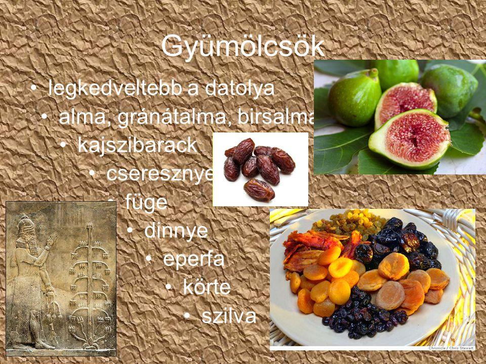 Gyümölcsök legkedveltebb a datolya alma, gránátalma, birsalma kajszibarack cseresznye füge dinnye eperfa körte szilva