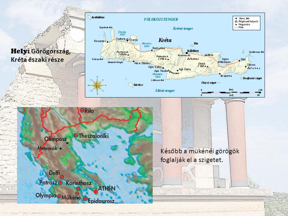 Később a mükénéi görögök foglalják el a szigetet. Hely: Görögország, Kréta északi része