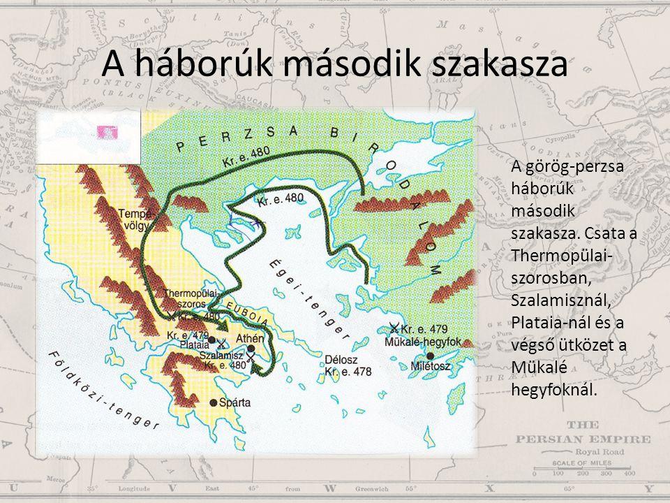 A háborúk második szakasza A görög-perzsa háborúk második szakasza. Csata a Thermopülai- szorosban, Szalamisznál, Plataia-nál és a végső ütközet a Mük