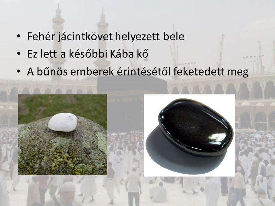 Fehér jácintkövet helyezett bele Ez lett a későbbi Kába kő A bűnös emberek érintésétől feketedett meg