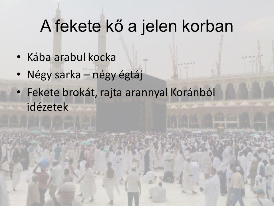 A fekete kő a jelen korban Kába arabul kocka Négy sarka – négy égtáj Fekete brokát, rajta arannyal Koránból idézetek