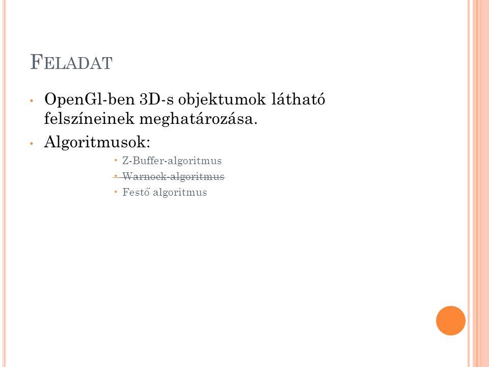 F ELADAT OpenGl-ben 3D-s objektumok látható felszíneinek meghatározása.
