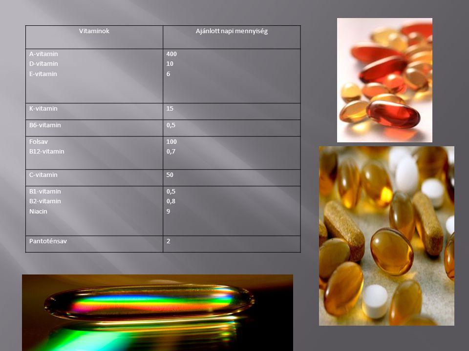VitaminokAjánlott napi mennyiség A-vitamin D-vitamin E-vitamin 400 10 6 K-vitamin15 B6-vitamin0,5 Folsav B12-vitamin 100 0,7 C-vitamin50 B1-vitamin B2