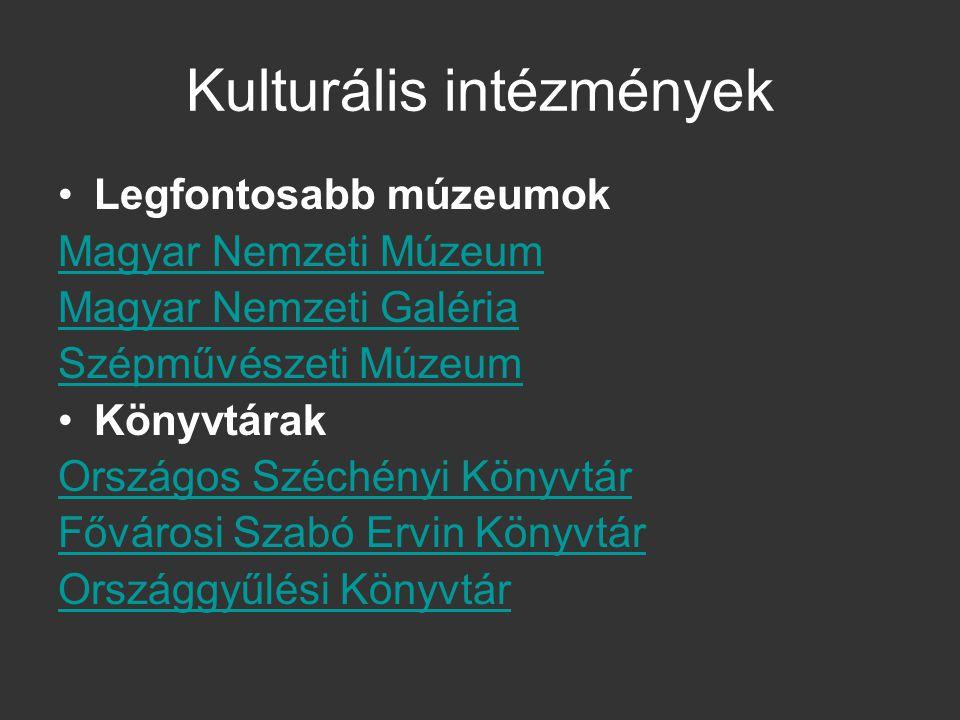 Kulturális intézmények Legfontosabb múzeumok Magyar Nemzeti Múzeum Magyar Nemzeti Galéria Szépművészeti Múzeum Könyvtárak Országos Széchényi Könyvtár
