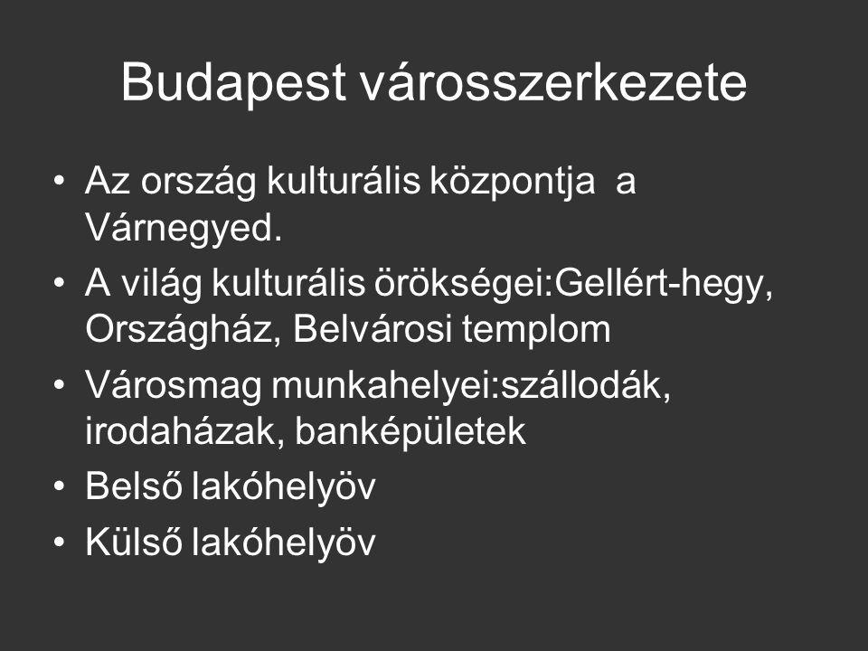 Budapest városszerkezete Az ország kulturális központja a Várnegyed. A világ kulturális örökségei:Gellért-hegy, Országház, Belvárosi templom Városmag