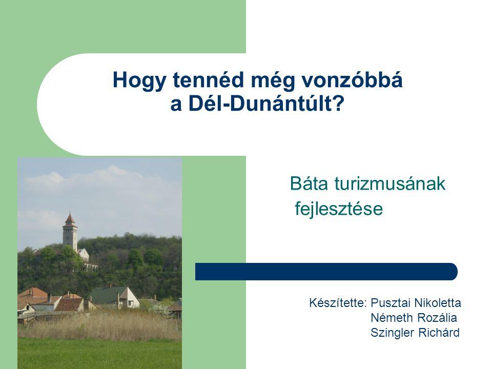 Hogy tennéd még vonzóbbá a Dél-Dunántúlt? Báta turizmusának fejlesztése Készítette: Pusztai Nikoletta Németh Rozália Szingler Richárd