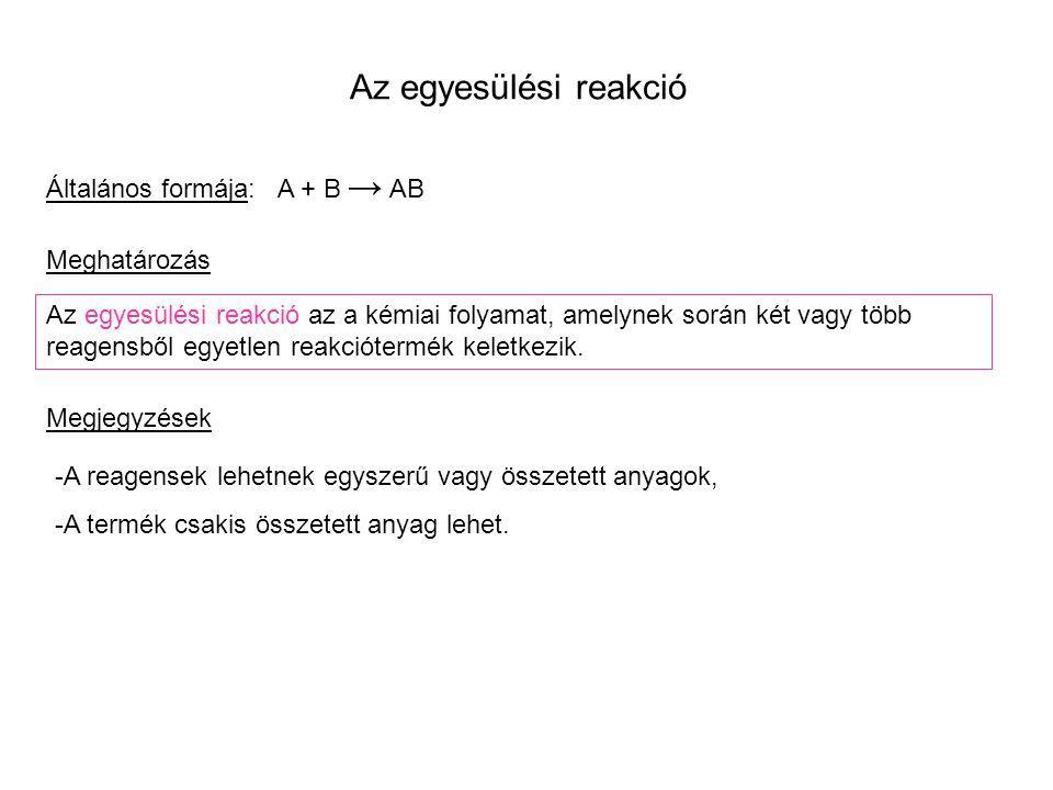 Példák egyesülési reakciókra 1.