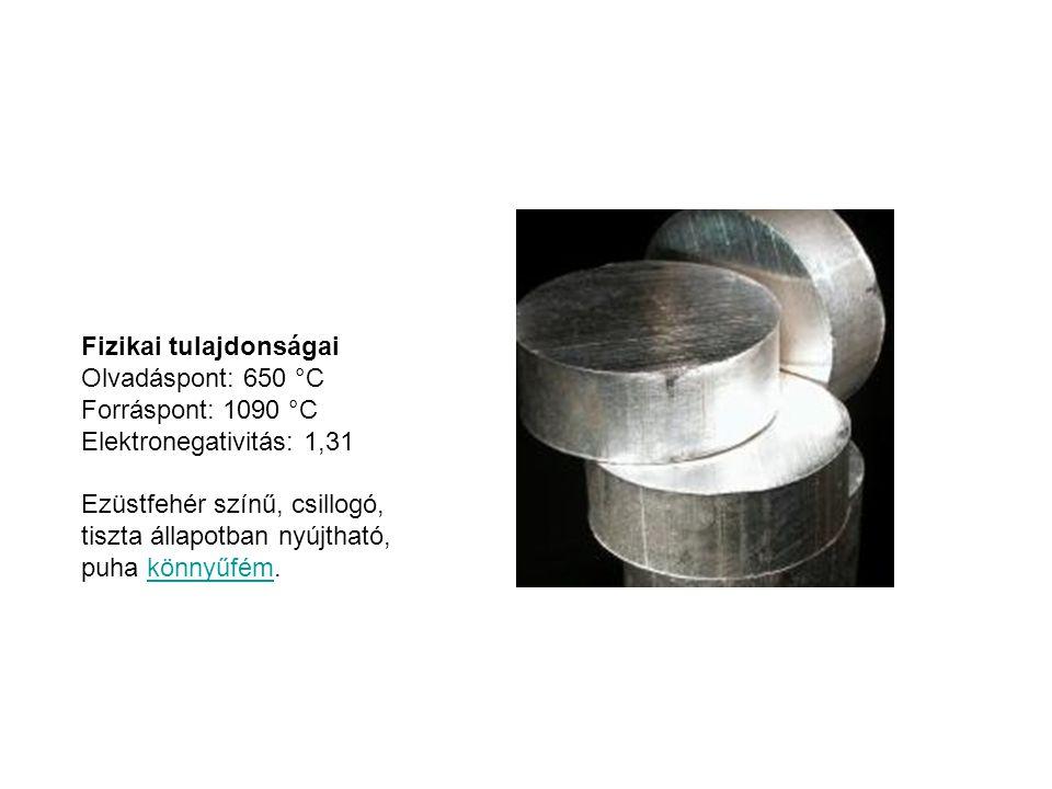Fizikai tulajdonságai Olvadáspont: 650 °C Forráspont: 1090 °C Elektronegativitás: 1,31 Ezüstfehér színű, csillogó, tiszta állapotban nyújtható, puha k