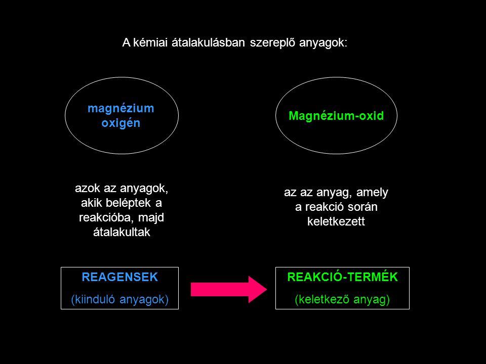 A kémiai átalakulásban szereplő anyagok: magnézium oxigén azok az anyagok, akik beléptek a reakcióba, majd átalakultak REAGENSEK (kiinduló anyagok) Magnézium-oxid az az anyag, amely a reakció során keletkezett REAKCIÓ-TERMÉK (keletkező anyag)