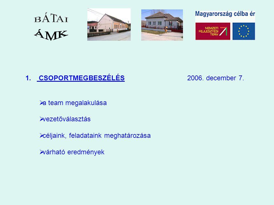 1. CSOPORTMEGBESZÉLÉS 2006. december 7.  a team megalakulása  vezetőválasztás  céljaink, feladataink meghatározása  várható eredmények