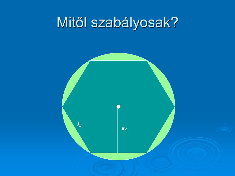 Meghatározás:  Szabályos sokszögnek nevezünk egy olyan konvex sokszöget, melynek minden oldala és minden szöge kongruens.