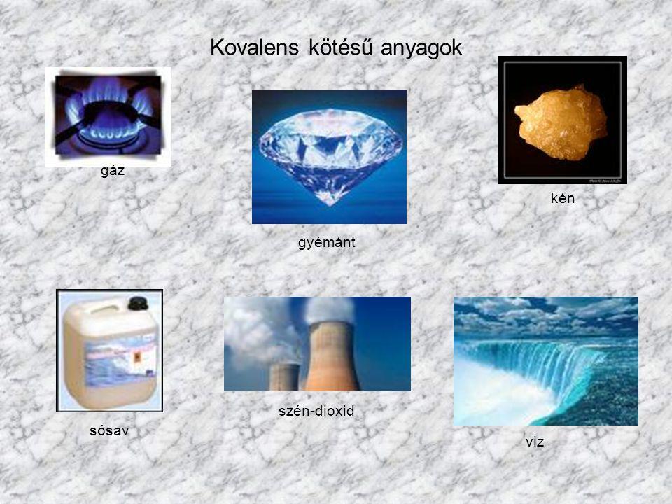 Kovalens kötésű anyagok gyémánt kén viz gáz sósav szén-dioxid